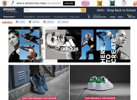 Amazon Adidas storefront