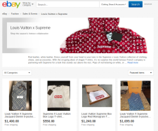 Buyers know that they can go to eBay for certain items. eBay has a landing page dedicated to the many LV x Supreme products available